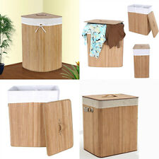 Natural Rectangular Corner Folding Bamboo Laundry Washing Basket Clothes Hamper