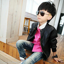 Hugme.Fashion Black Casual Party Winter Leather Jacket For Kids