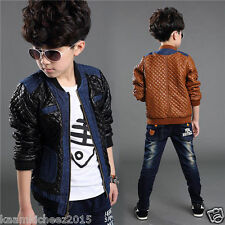 Hugme.Fashion Black Brown StylishParty Winter Leather Jacket For Kids