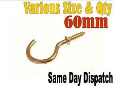 60MM BRASS PLATED HEAVY DUTY SCREW IN HOOKS YOU CHOOSE QUANTITY