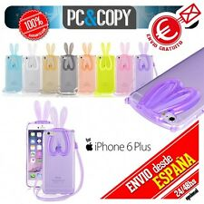 Funda TPU flexible transparente para iphone 6 6S plus Bunny orejas conejo colore