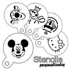 Stencil infantil para cupcake café tarta mickey kitty winnie doraemon peppa pig