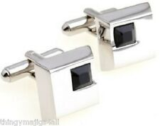 PAIR BLACK STONE SILVER SQUARE CUFFLINKS SHIRT CUFF LINKS WEDDING PARTY GIFT NEW