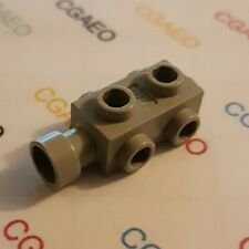 1 X Lego 4595 Brick, Modified 1 x 2 x 2/3 with Studs on Sides (Light gray)