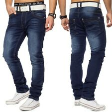 Uomo Jeans slim fit in denim stonewashed blu elasticizzato 5 tasche scuro