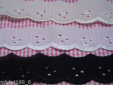 Broderie Anglaise Lace 30mm wide  - Available in 3 colours & Various lengths