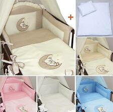 6 Piece pcs Baby Nursery Bedding Set + Sheet For Cot Cotbed Bear Moon Embroidery