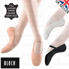 PINK BALLET SHOES BLOCH ARISE LEATHER DANCE SHOES FULL SUEDE SOLE ELASTICS WHITE
