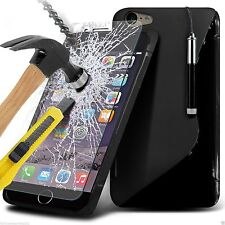 S-Line Slim Wave Gel Phone Case Cover+Glass Screen Protector for Apple