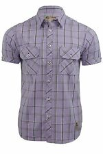 Nickelson Mens Fashion Shirt Short Sleeves Lilac Check