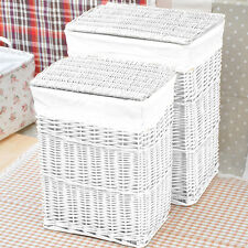 LARGE MEDIUM LID RECTANGULAR WHITE WICKER LAUNDRY BASKET LINING STORAGE BOX NEW