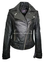 New Ladies Deluxe Black Biker Style Motorcycle Soft Napa Italian Leather Jacket