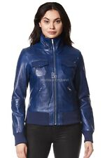 Ladies Bomber Leather Jacket Blue WAX Motorcycle Style REAL LEATHER JACKET 3758