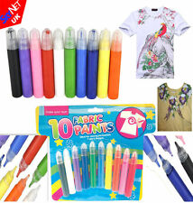 10/20 PACK FABRIC PAINTS PENS PERMANENT T-SHIRT CLOTHES DESIGNS ASSORTED COLOURS