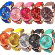 Women's / Mens Fashion Geneva Roman Numerals Leather Analog Quartz Wrist Watch .