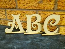 Wooden 100mm Letters On Stand Craft Shape Desk Top Name Victorian Letters #125