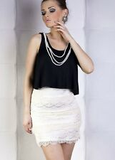 New Evening Party Ladies Womens Formal Clubwear Mini Black White Lace Dress