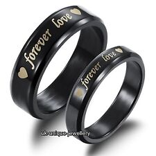 Black Forever Love Rings Promise Bands - Gifts For Her Him Wife Husband Couples