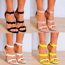 NUDE PATENT BARELY THERE STRAPPY SANDALS PEEP TOES ANKLE STRAPS HIGH HEELS 3-8