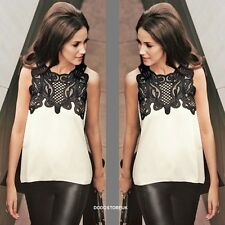Elegant Fashion Lace Top Women Sleeveless Ladies  Asymmetric Summer Blouse