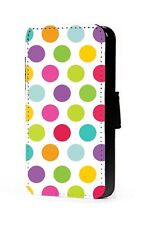 Polka dots faux leather phone case colourful wallet case for iphone samsung htc