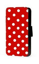 Polka dots phone case red background faux leather wallet case for iphone samsung
