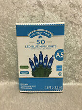 Holiday Time 50 Blue LED Mini Lights Green Wire Christmas