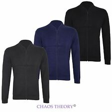 New Mens Knit Sweatshirt Zip Up Plain Knitted Zipped Jumper Cardigan Top