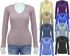 Ladies Knitted Stretchable Vneck Skinny Petite Women Jumper Sweater Ribbed Top