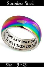 WHEN YOU SAW ONLY ONE SET OF FOOTPRINTS - RAINBOW Remembrance Ring Even Sz 5-13