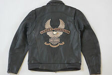 Harley Davidson Men Power Leather Black Distressed Eagle Jacket 97129-07VM L New