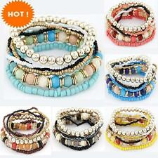 New Fashion Bohemia Beads Beaded Multi Strand Stretch Bracelet Bangles Pulseira