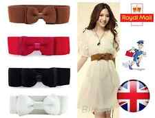 Elastic Wide Belt Bowknot Bow For Women PU Stretch Elastic Waist Belt
