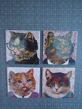Retro quirky funny set of 4 coasters cat faces shabby chic vintage birthday gift