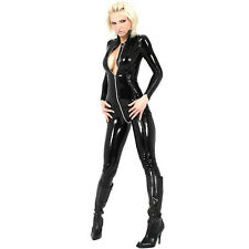 Adult Sexy Ladies Catsuit Erotic Wetlook Jumpsuit Night Clubwear Black Costumes