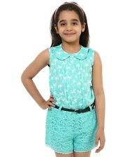Oxolloxo Girls Polyester Green Lace Playsuit (S16063GOV003)