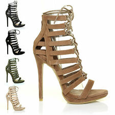 NEW! Womens High Heels Peep Toe Sandals Caged Strappy Tie Up Shoes Size UK EU US
