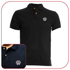 POLO T-SHIRT VOLKSWAGEN BADGE BLACK RICAMO EMBROIDERY PATCH