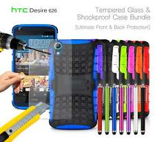 HTC Desire 626G+ Shockproof Armour Case Cover, Stylus & Tempered GLASS