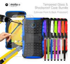Motorola Moto E 2nd Gen 4G Shockproof Armour Case Cover, Stylus & Tempered GLASS