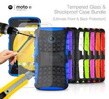 Motorola Moto E 2nd Gen - Shockproof Strong Silicone Stand Case & Tempered GLASS