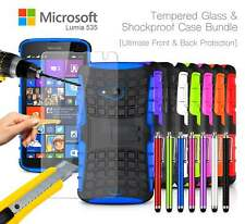 Microsoft Lumia 535 Dual SIM Shockproof Armour Case Cover, Pen & Tempered GLASS