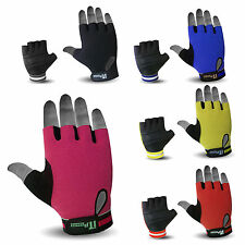 Summer Cycling Gloves Padded Leather Finger less Cycling Mitts Mittens