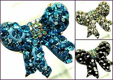 New Silver Tone Pave Crystal Bow Tie Adjustable Cocktail Ring in Gift Box