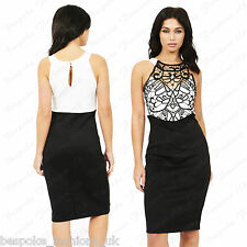 Ladies Women's Crochet Stitched Neck Detail Contrast Bodycon Midi Dress 8-14