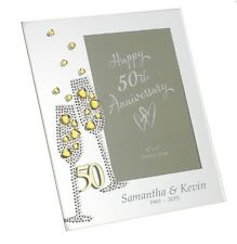 50TH ANNIVERSARY MIRROR PHOTO FRAME PLAIN OR PERSONALISED WEDDING