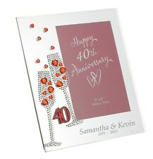 40TH ANNIVERSARY MIRROR PHOTO FRAME PLAIN OR PERSONALISED WEDDING