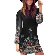 Femmes casual cocktail party soirée shift robe Floral manches longues Mini robe