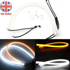 2x 30/60cm Flexible Soft Tube Car LED Amber Strip DRL Daytime Running Turn Light