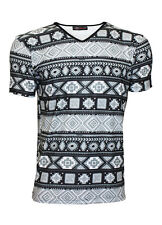 Men's Mono Ethnic Aztec Tribal African Pattern Print T-Shirt Top Tee